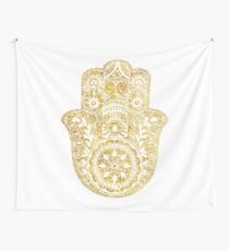 White Gold Hamsa Hand Wall Tapestry