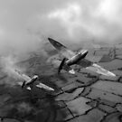 Spitfires among low clouds B&W version by Gary Eason