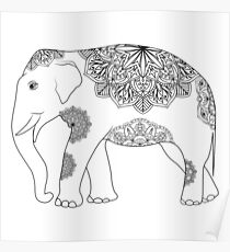 Vintage elephant with tribal ornaments Poster