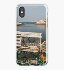 Peggy's cove through a lobster trap iPhone Case