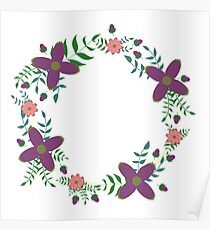 Floral wreath Poster