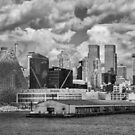 Harbour View of New York City Skyline in Black and White by Gerda Grice