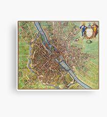 Vintage Historic Paris Map Metal Print