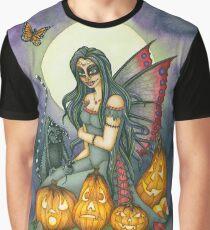Halloween Sugar Skull Fairy with Black Cat, Fright Night Graphic T-Shirt