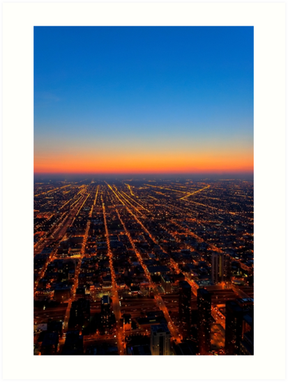 All Roads Lead... - Chicago From Above At Dusk by Mark Tisdale
