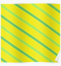 Diagonal Chartreuse Stripes Poster