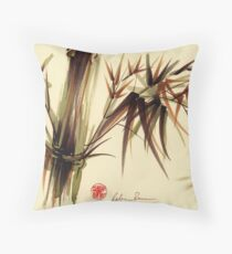"""Bamboo Symphony"" Original acrylic wash & brush pen painting Throw Pillow"