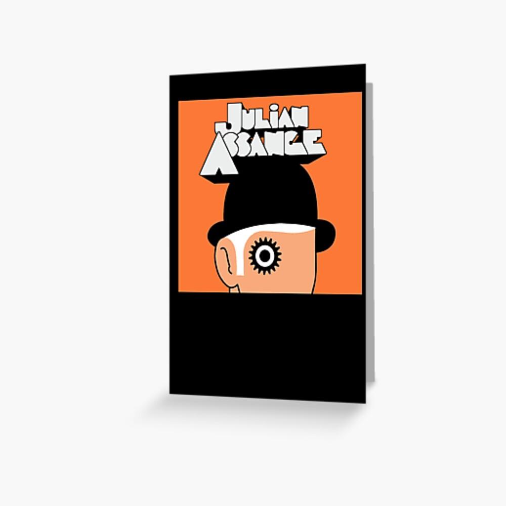 A Clockwork Julian Assange Greeting Card