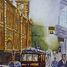 Flinders Street Tram by Virginia  Coghill