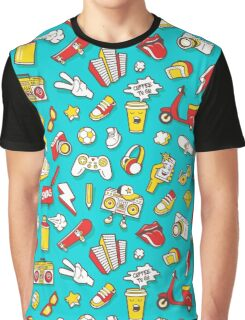Teal Retro Street Urban Style Graphic T-Shirt