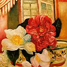 Camelias in Glass Bowl by Barbara Sparhawk