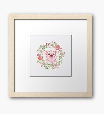 Pig and flowers Framed Print