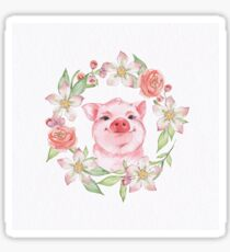 Pig and flowers Sticker