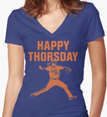 Happy Thorsday Women's Fitted V-Neck T-Shirt