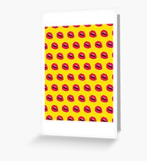 Lips Pattern Yellow Greeting Card