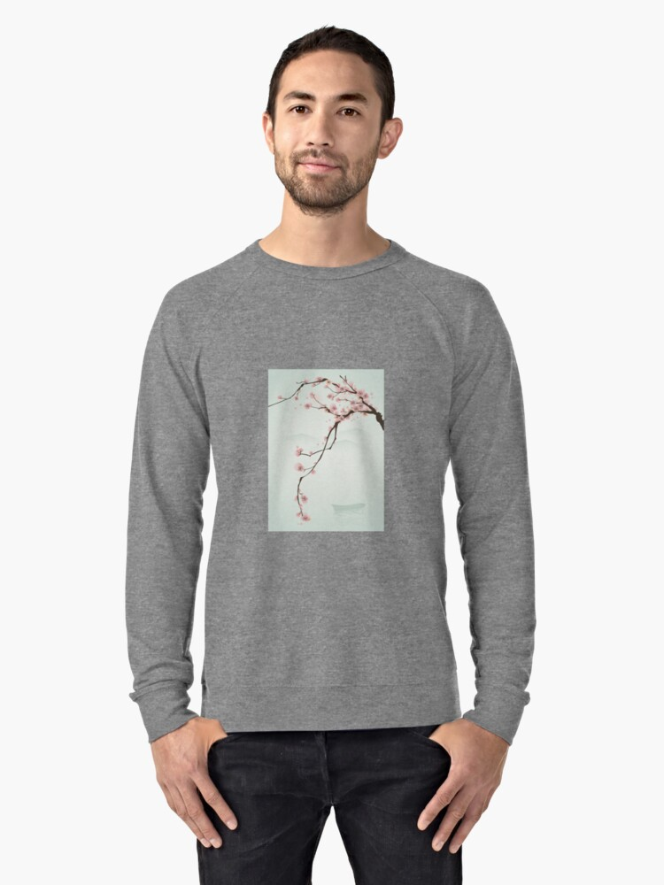 Whimsical Pink Cherry Blossom Tree Lightweight Sweatshirt Front