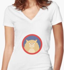Cute fluffy Hamster with red circle Women's Fitted V-Neck T-Shirt