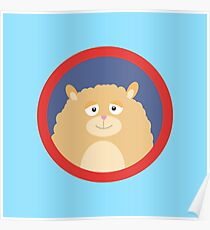 Cute fluffy Hamster with red circle Poster