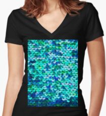 Beautiful sequins texture Women's Fitted V-Neck T-Shirt
