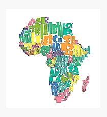 African Country Map Cloud Photographic Print