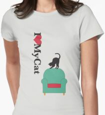 Cat on a turquoise armchair 2 Womens Fitted T-Shirt