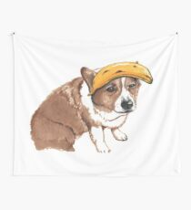 Corgi and banana Wall Tapestry