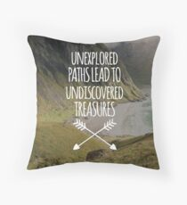Unexplored Paths Travel Quote Throw Pillow