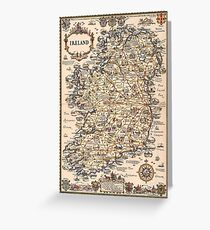 1927 vintage Ireland map greeting card, birthday card Greeting Card