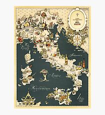 Gastronomic Map of Italy 1949 Photographic Print