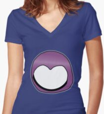 Cartoon Face 3 - Moonbase Girl [Big] Women's Fitted V-Neck T-Shirt