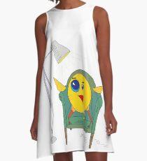 Yellow Bird Has Tea A-Line Dress