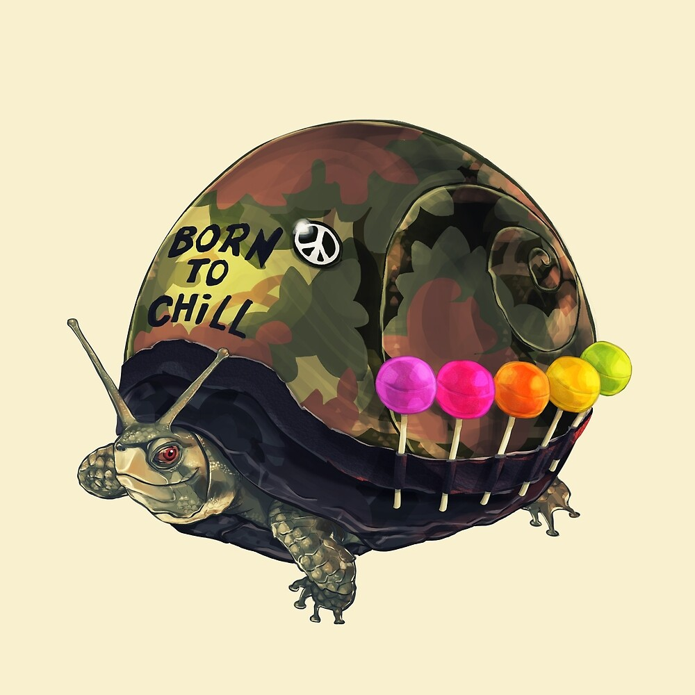"""""""Born to Chill"""" Full Metal Snail Turtle by bkkbros"""