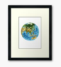 World Map Planet Earth Watercolor Painting Illustration Poster Framed Print