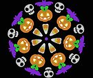 Halloween Pumpkin Mandala Wheel by Sophersgreen