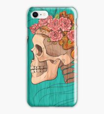 illustration with skull holding a human face mask iPhone Case/Skin