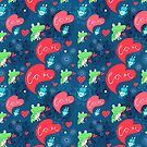 Graphic pattern with frog lovers by Tanor