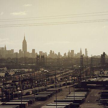 Dirty New York City Industrial Skyline by rcschmidt
