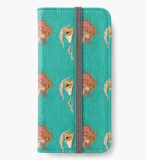 illustration with skull holding a human face mask iPhone Wallet/Case/Skin