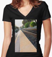 Ventura Train Station Women's Fitted V-Neck T-Shirt