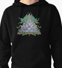 Stained Glass Lotus Illustration Pullover Hoodie