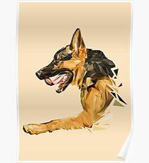 German Shepherd low poly. Poster