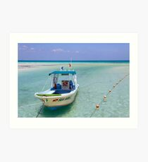 Dive Boat off Avalon (Mia) Bridge - Isla Mujeres Art Print