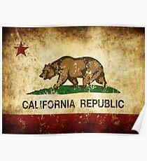 Kalifornien Republik Flagge rustikal Poster