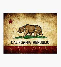 California Republic Flag Rustic  Photographic Print