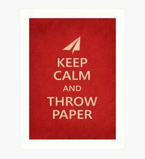 Keep Calm Paper Airplane 21e Art Print