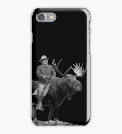 Teddy Roosevelt Riding A Bull Moose iPhone Case/Skin
