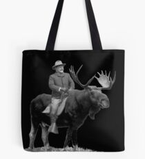 Teddy Roosevelt Riding A Bull Moose Tote Bag