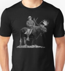 Teddy Roosevelt Riding A Bull Moose Unisex T-Shirt