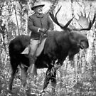 Teddy Roosevelt Riding A Bull Moose by LibertyManiacs