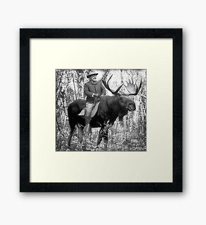 Teddy Roosevelt Riding A Bull Moose Framed Print